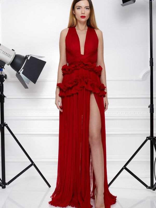 Red pleated ruffles dress