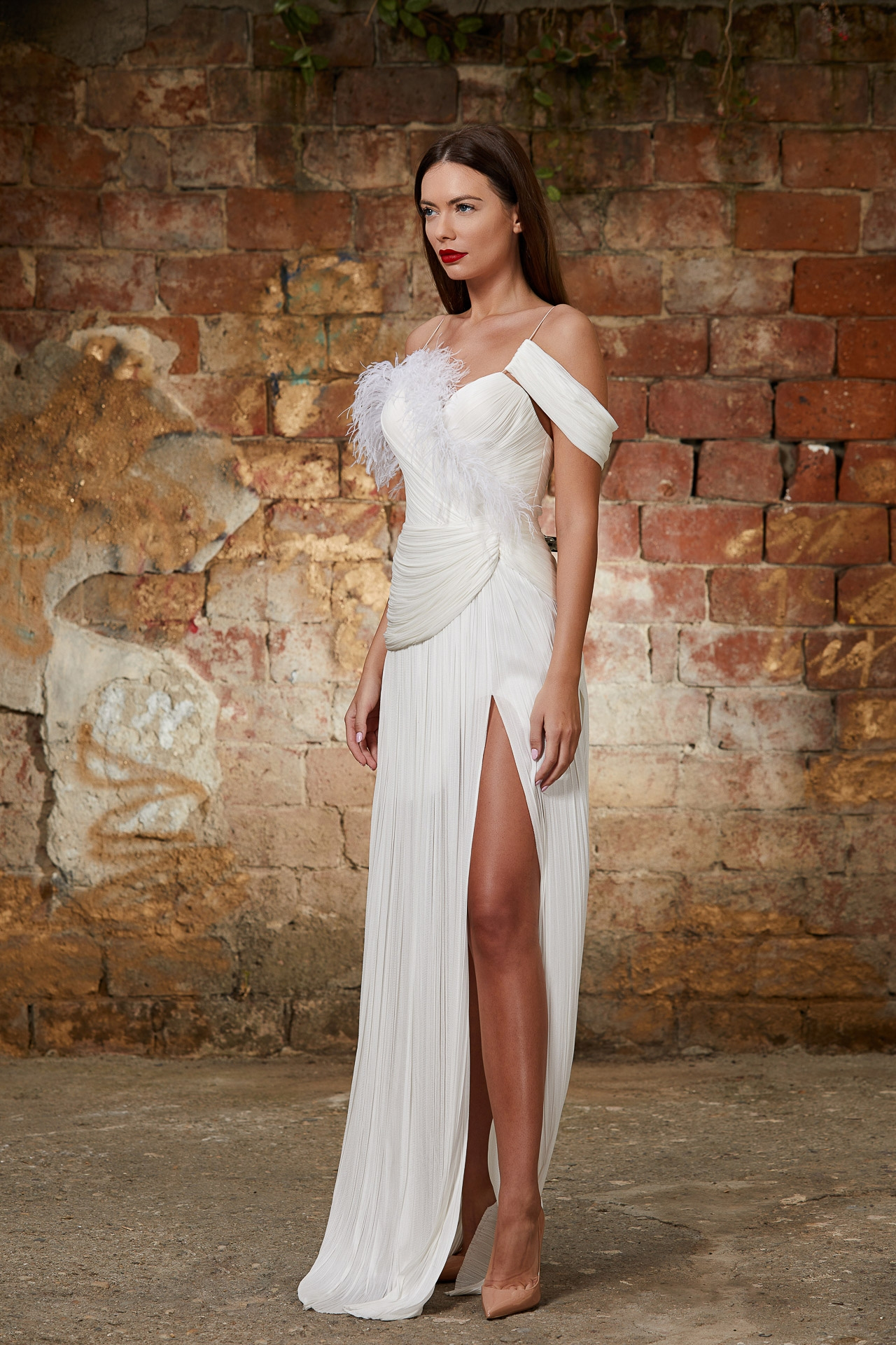 Feathered silk Bridal gown