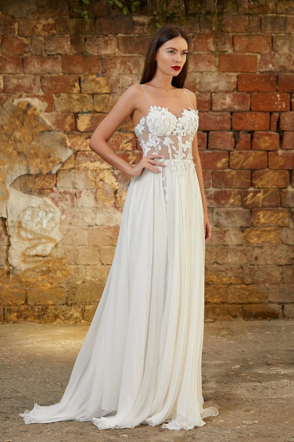 Embellished silk wedding gown