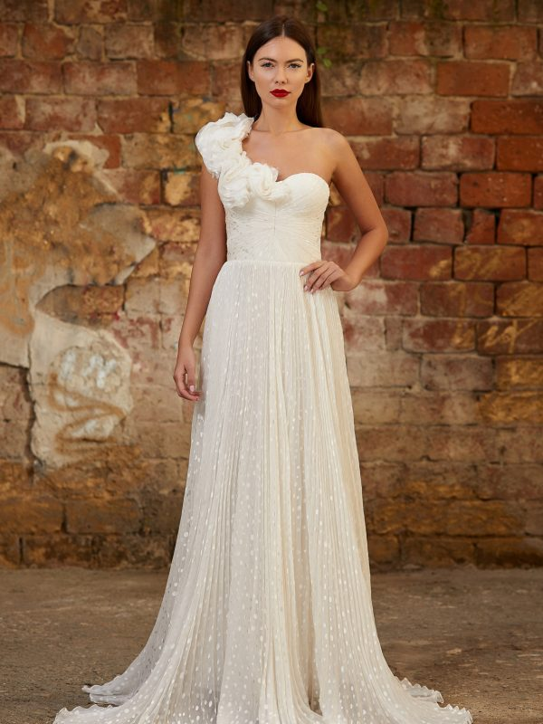 Silk ruffles bridal gown