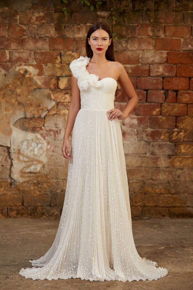 Silk ruffles bridal gown