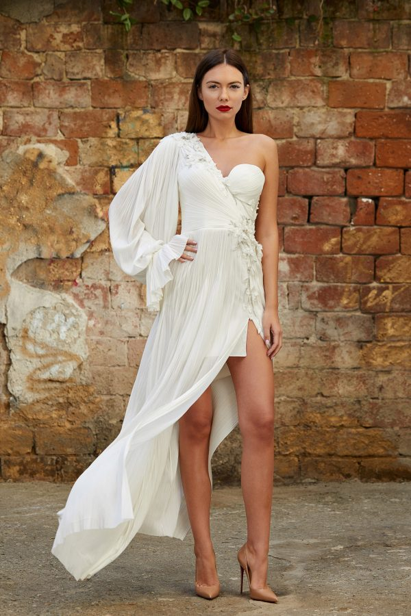 Asymmetrical embellished bridal gown