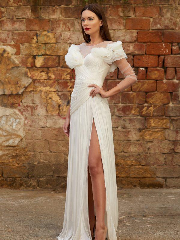 Silk flowers wedding gown
