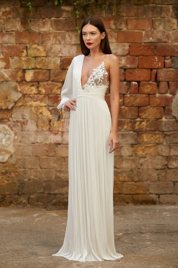 Asymmetrical silk bridal gown