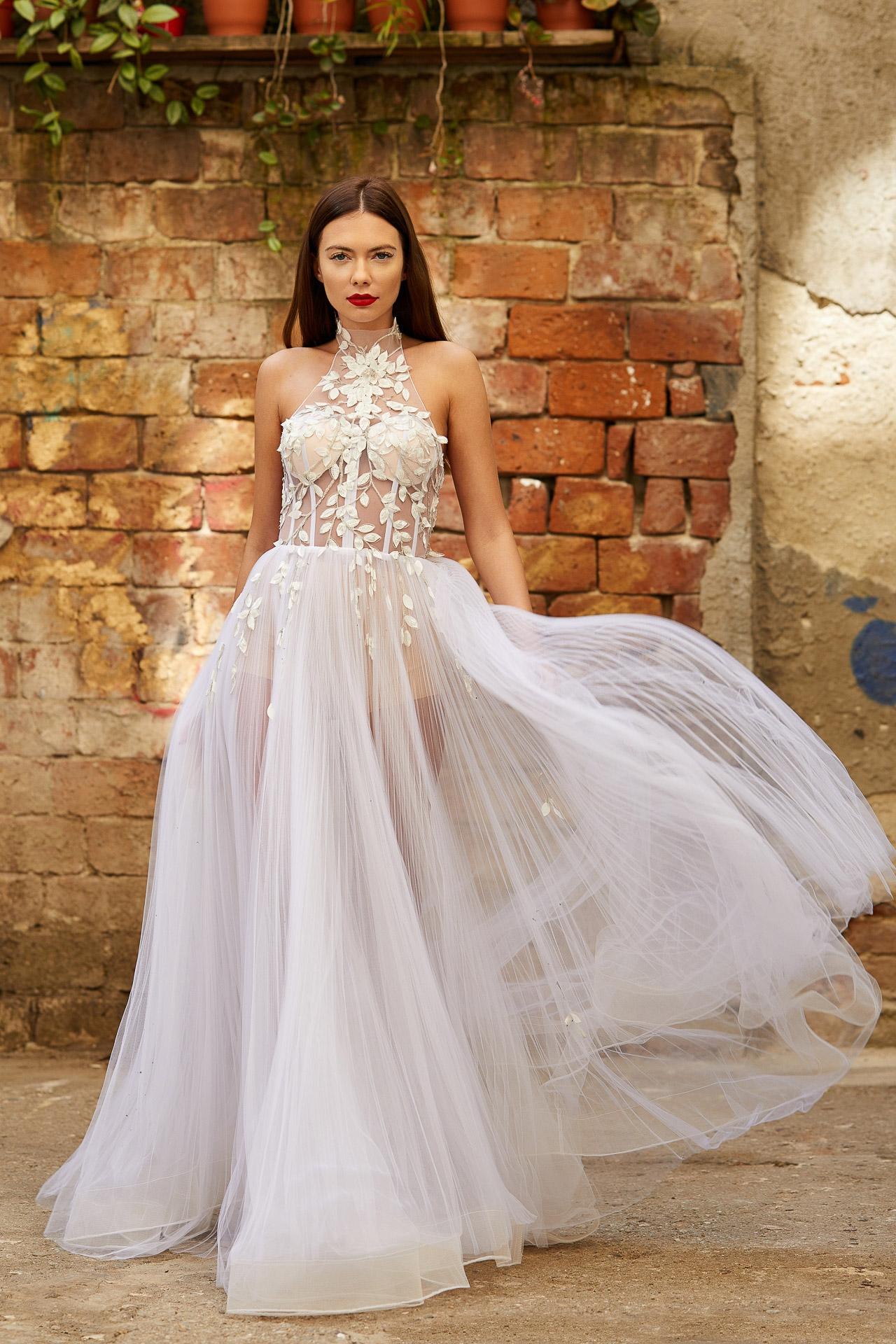 Embellished tulle bridal gown