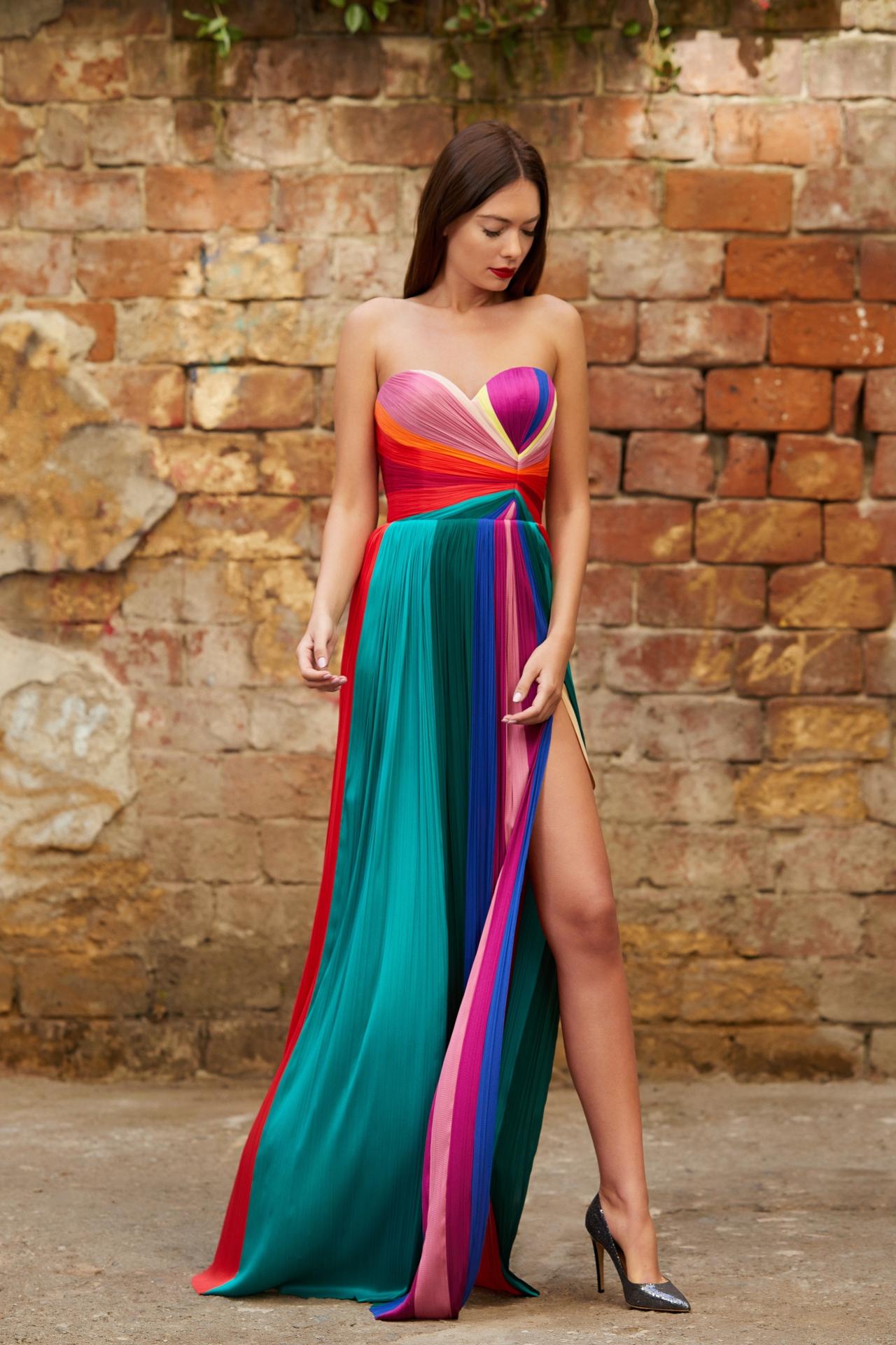 Multicolored panels silk dress