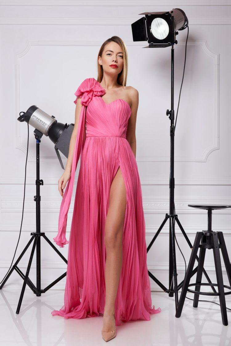 Silk corset evening dress