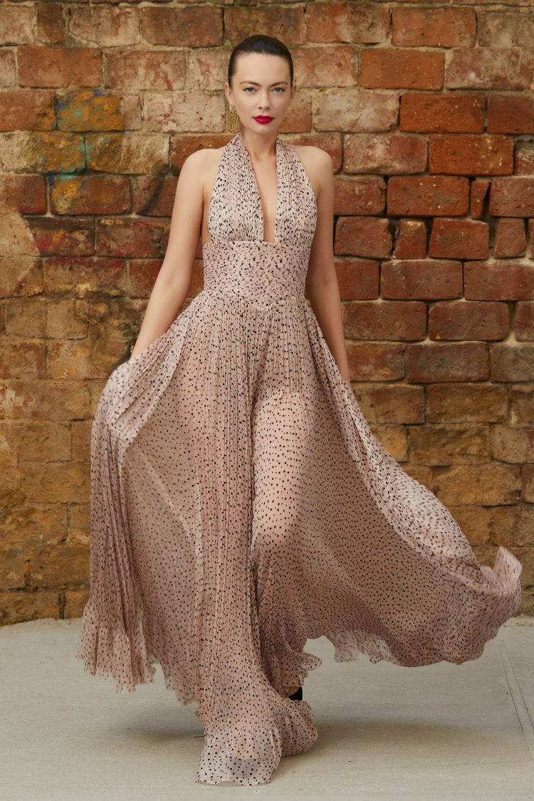 Dotted silk evening dress