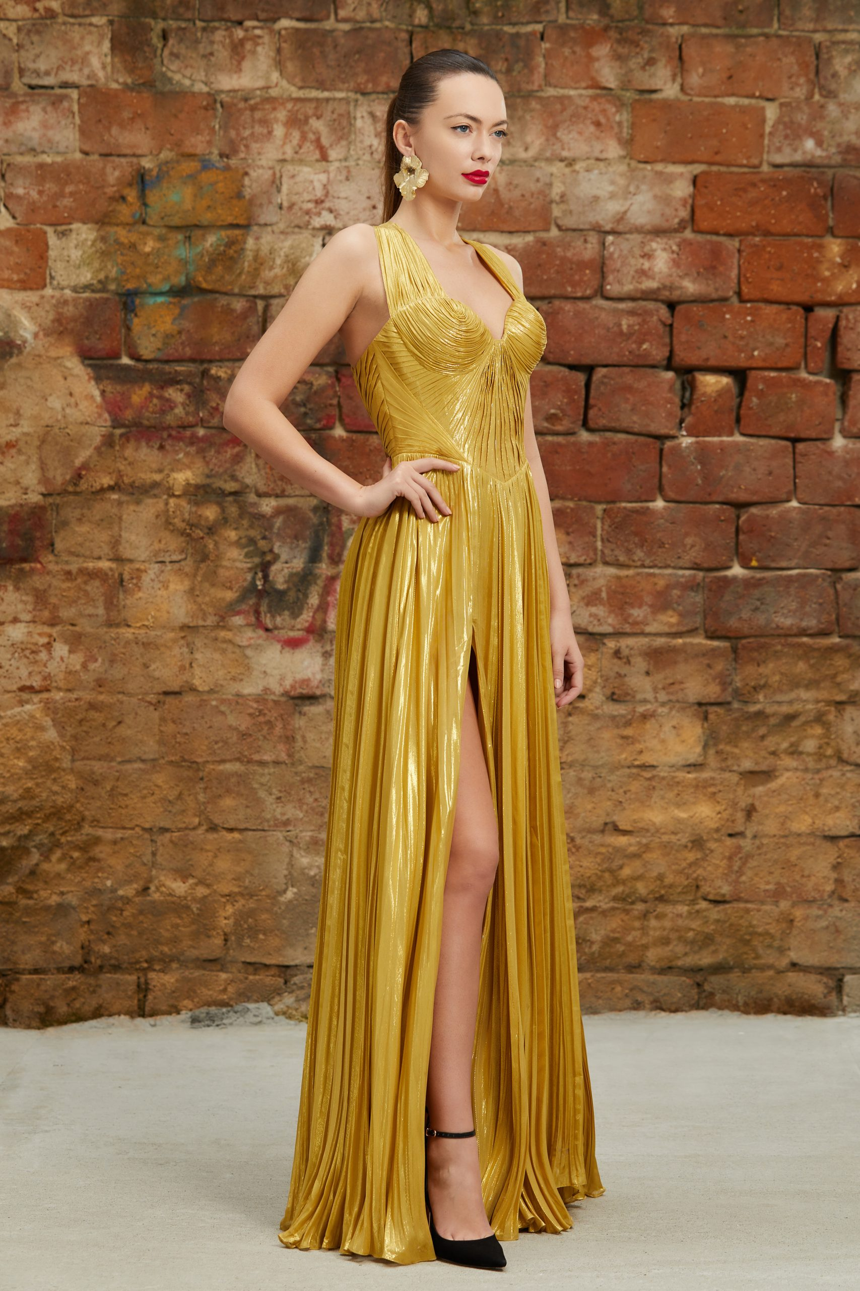 Golden silk evening dress