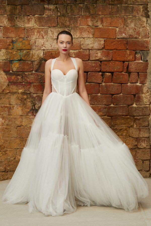 Tulle princess bridal gown