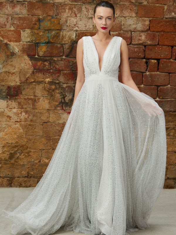 Beaded tulle wedding gown