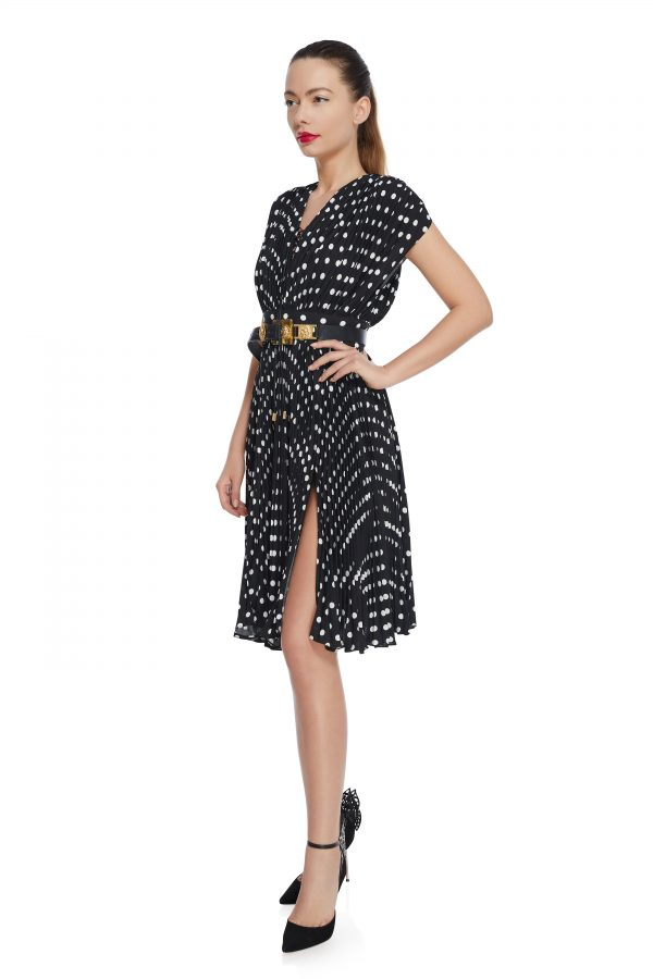 Pleated polka dots dress