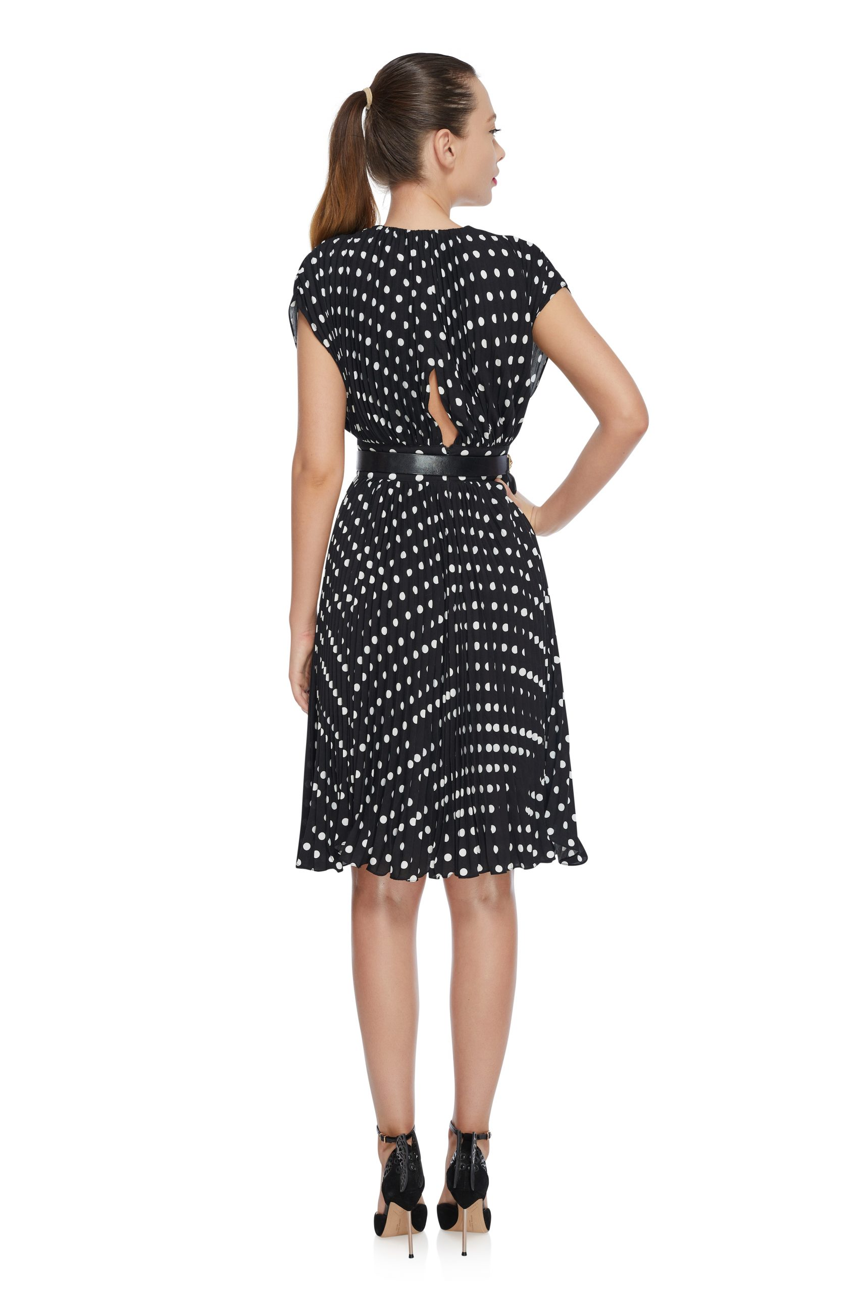 Pleated polka dots dress