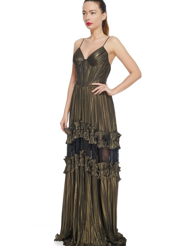 bronze metallic evening dress