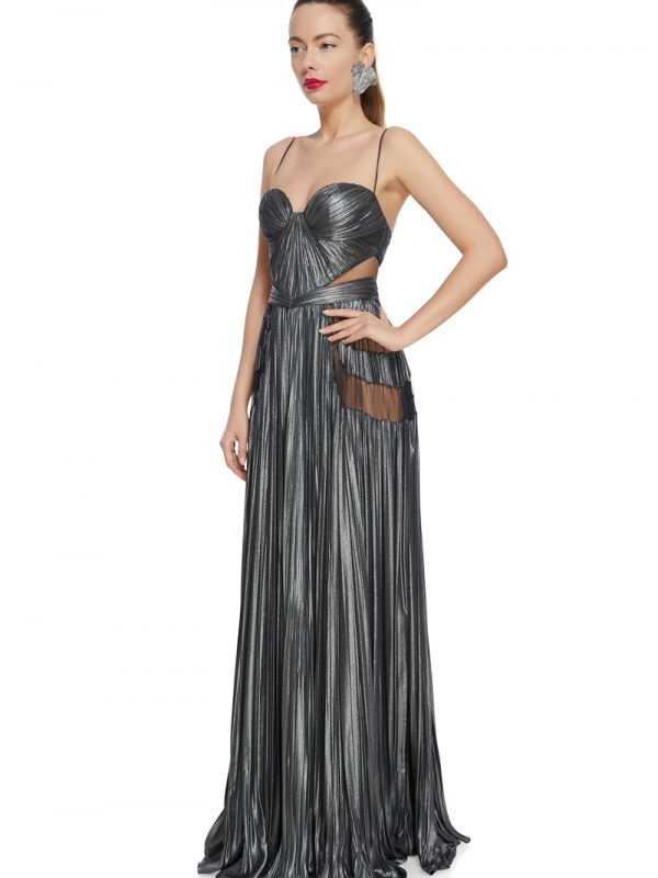 Metallic corset evening dress