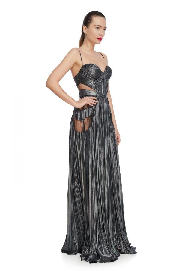 Metallic corset evening dress