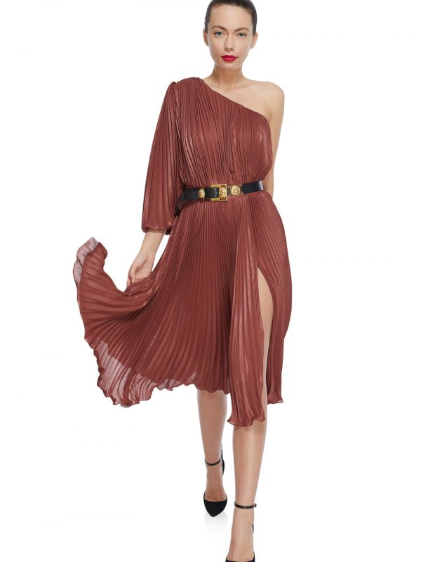 Metallic pleated cocktail dress