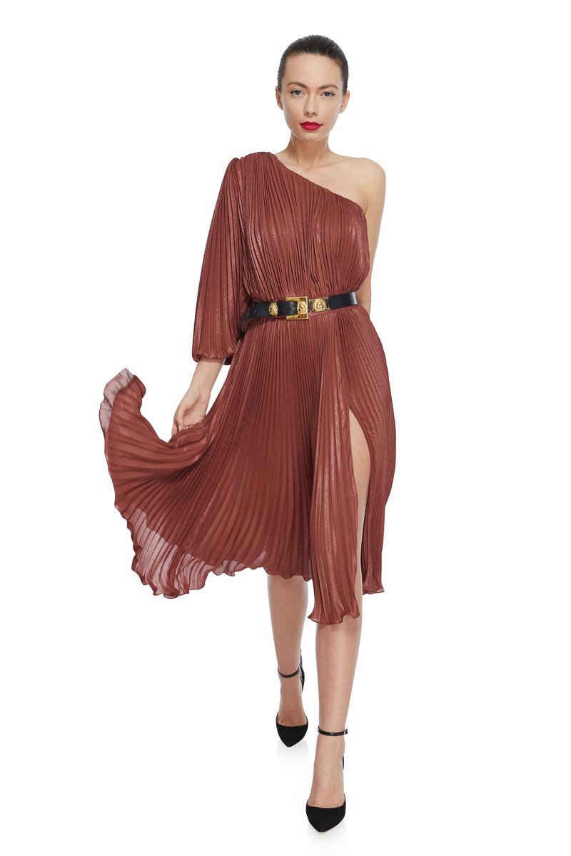 Metallic pleated cocktail dress