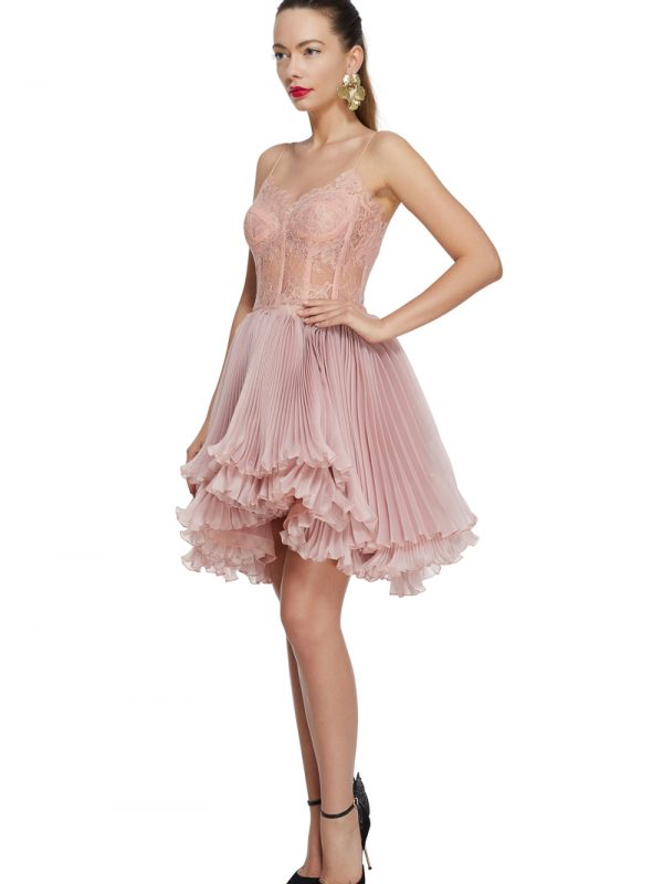 Lace corset prom dress
