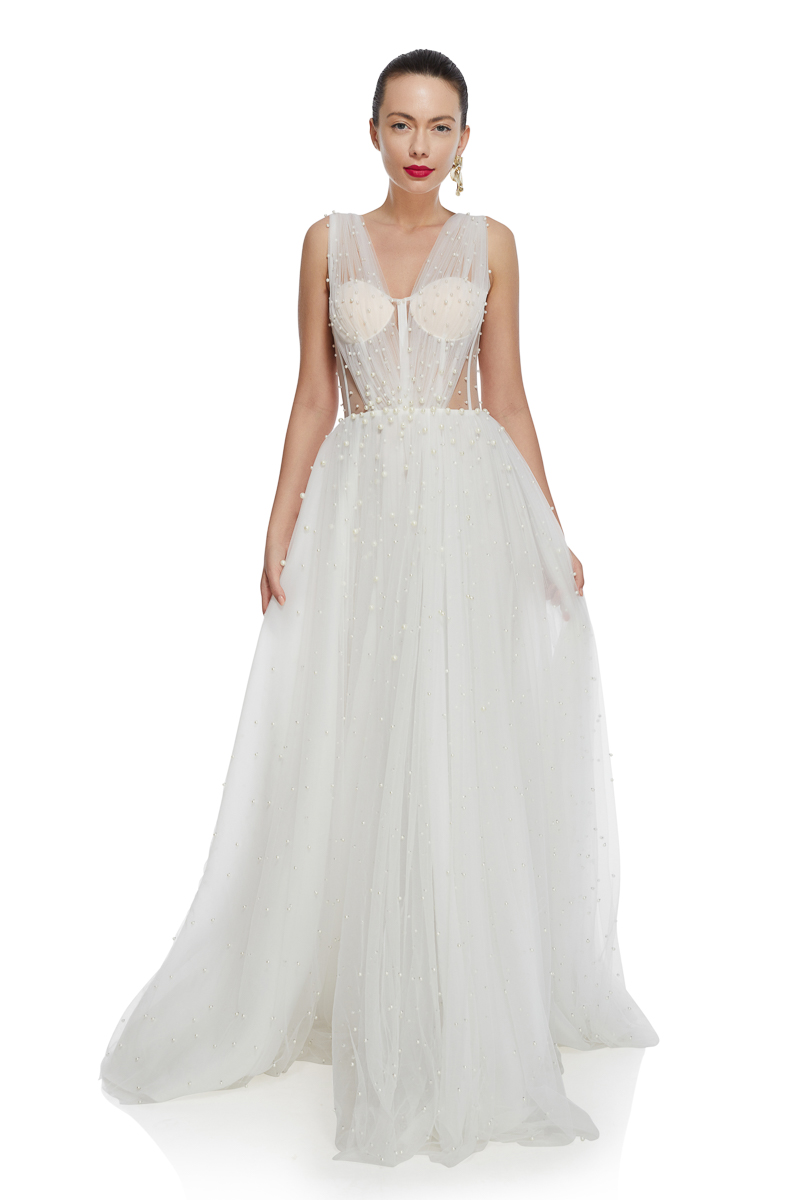 Pearled tulle bridal gown