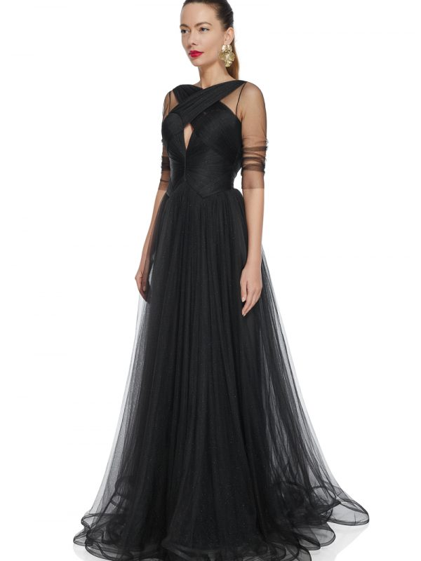 Long tulle evening gown