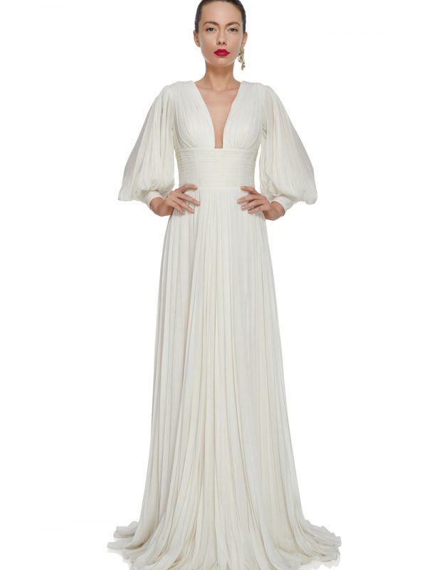 Long pleated bridal gown