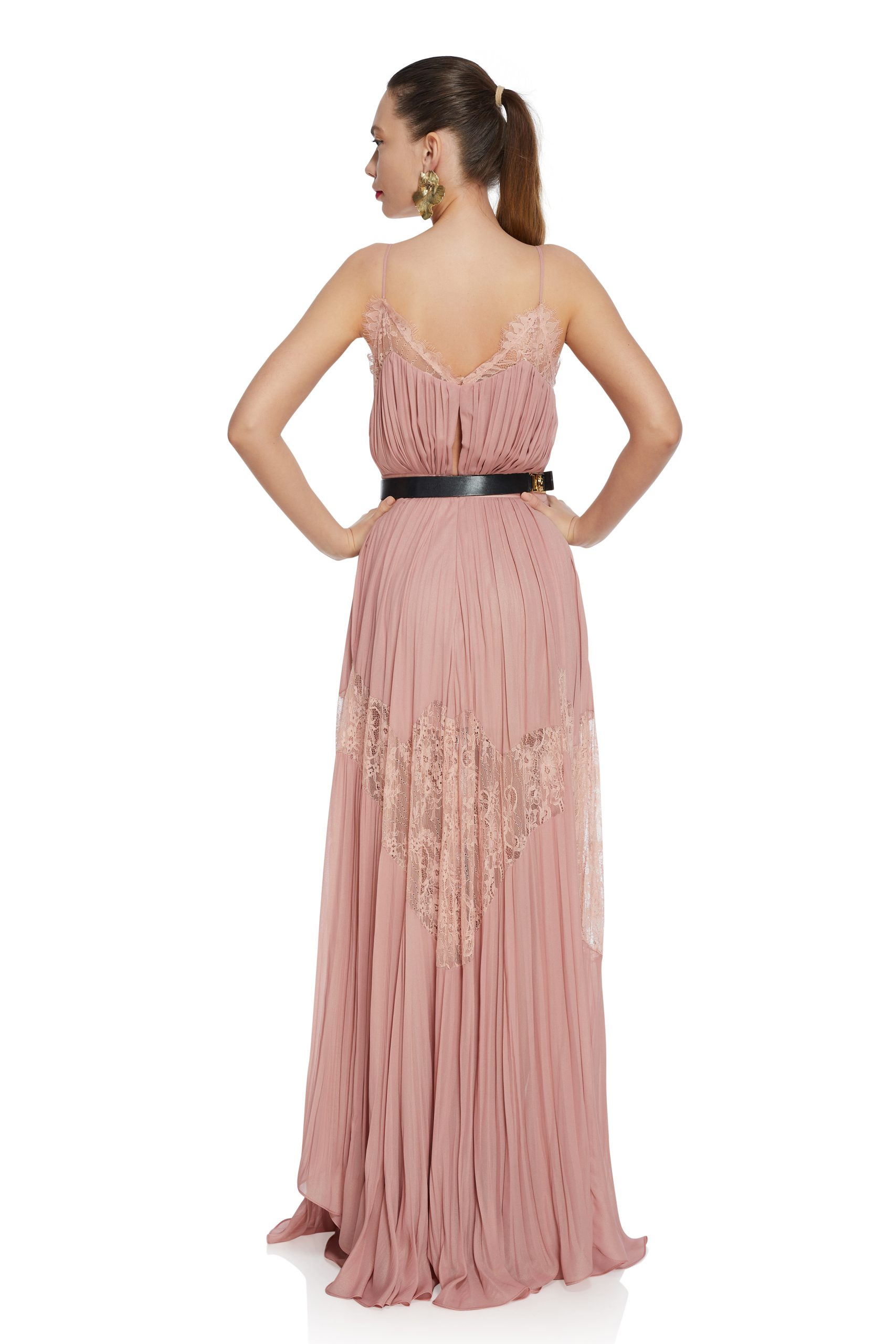Pink pleated lace dress