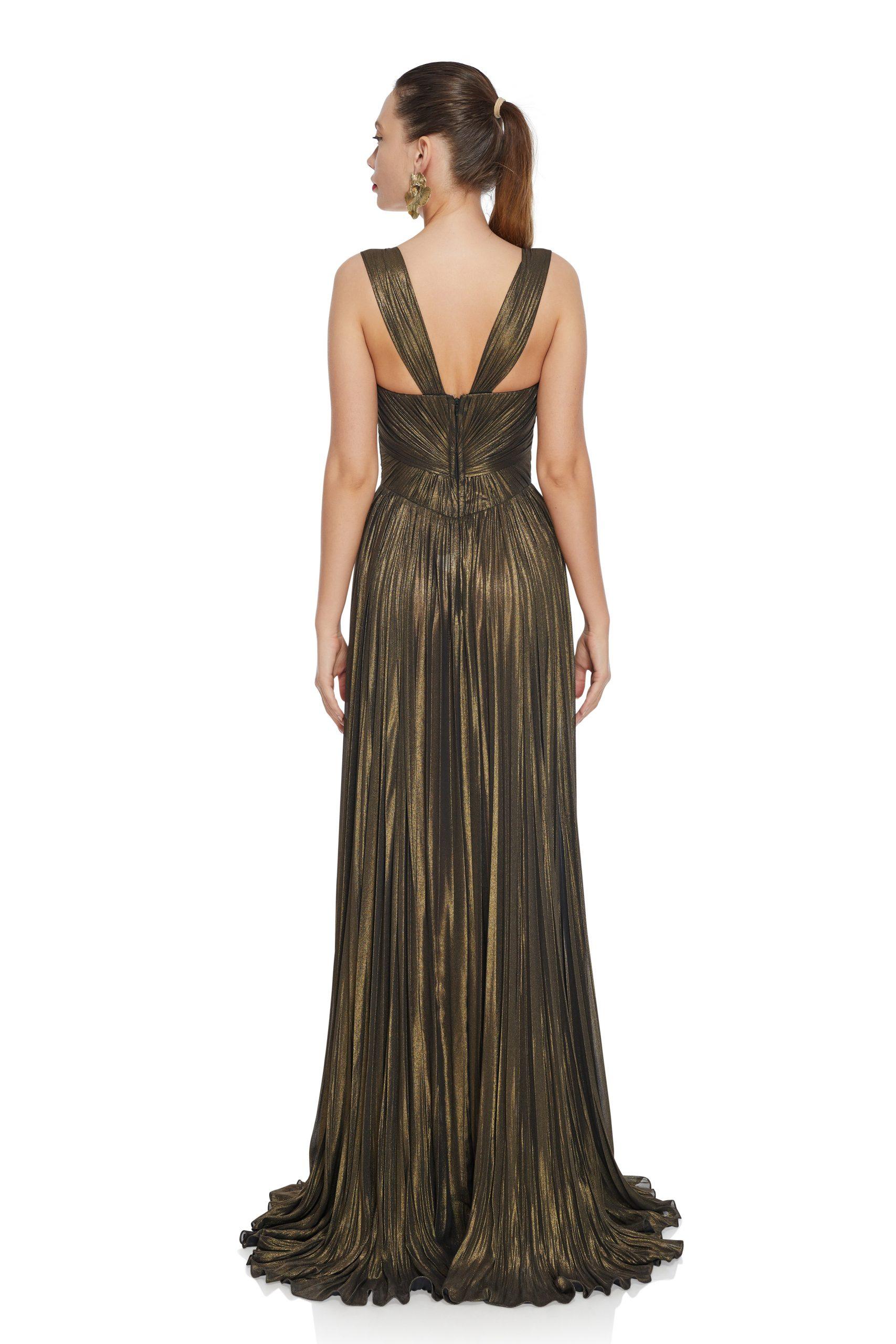 Bronze metallic evening gown