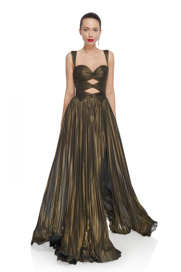 Bronze metallic evening gown