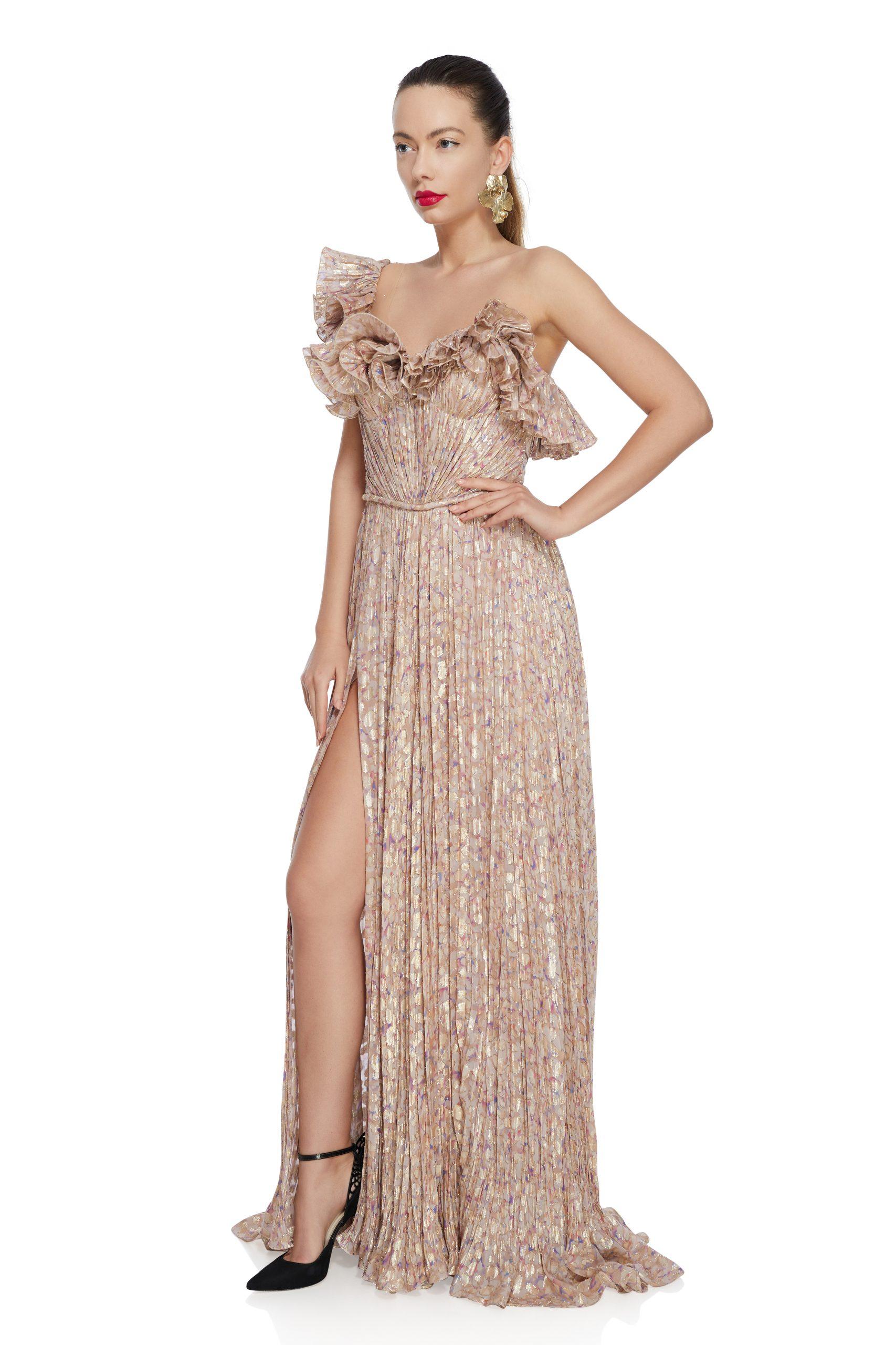 Dotted ruffled silk dress