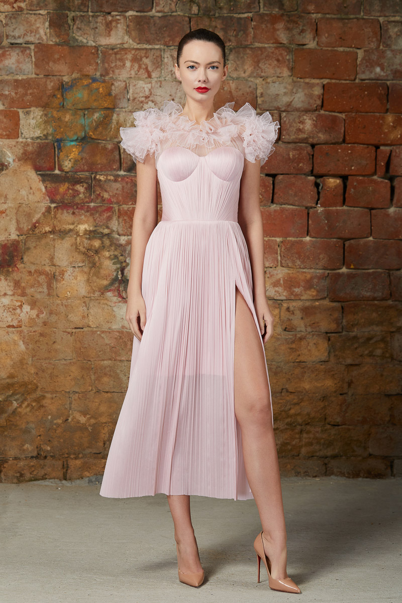 Ruffled corset cocktail dress