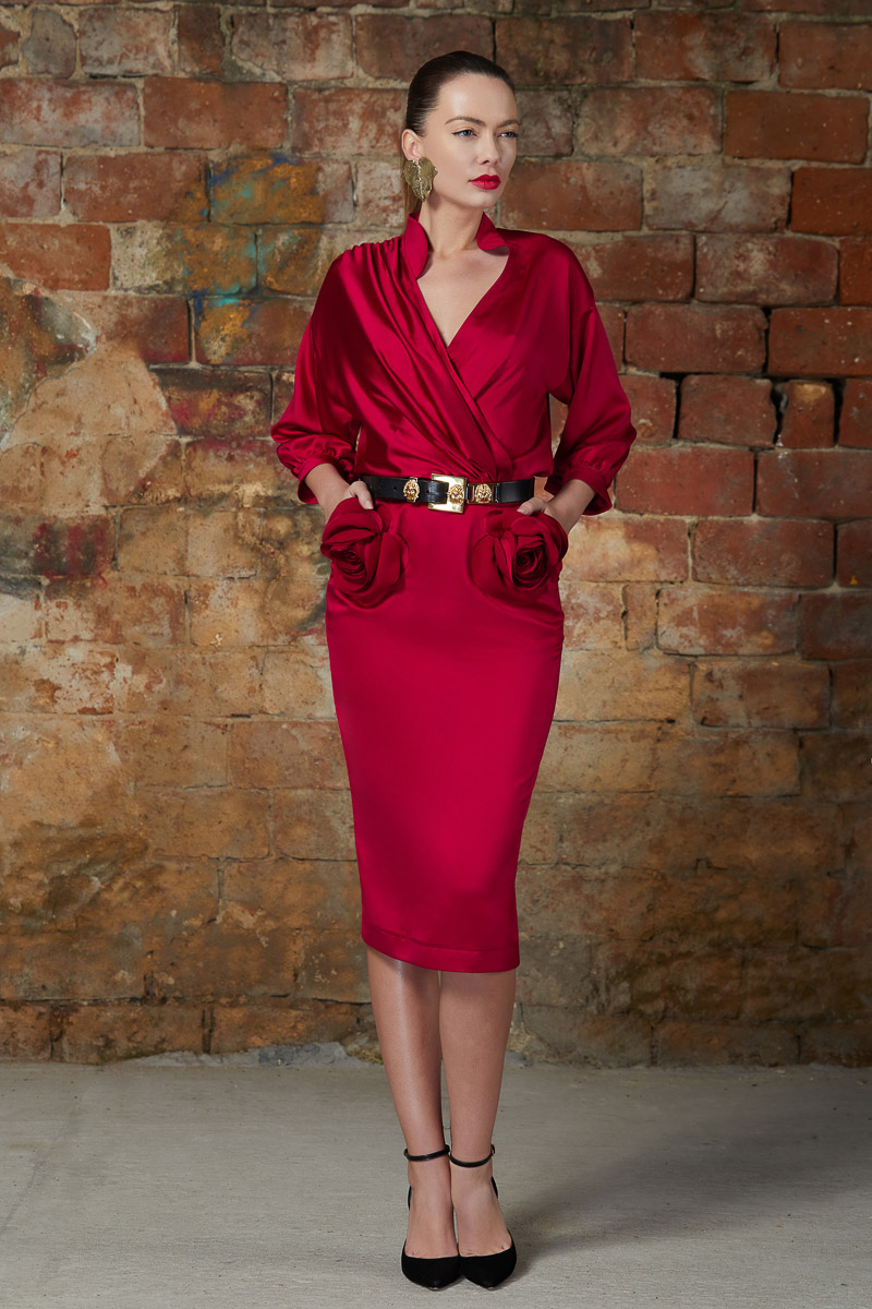 Red sateen cocktail dress