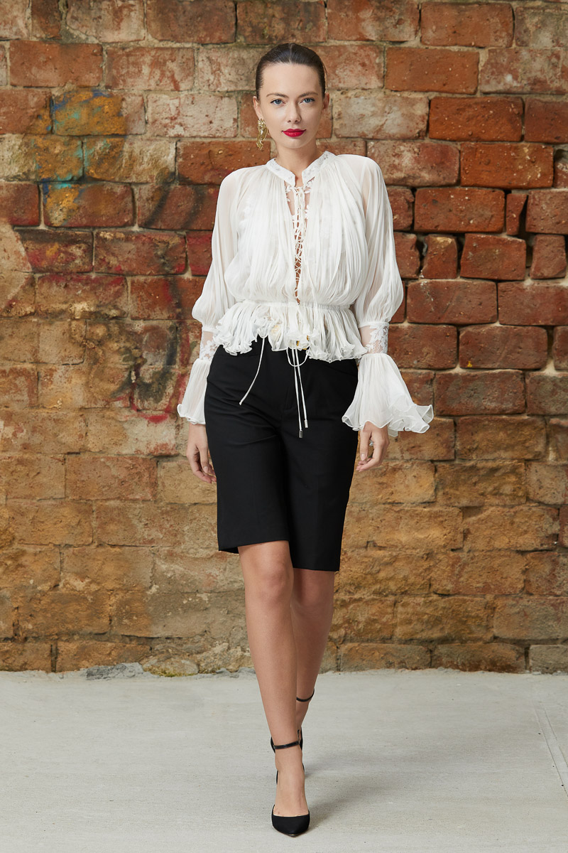 Romantic lace silk blouse