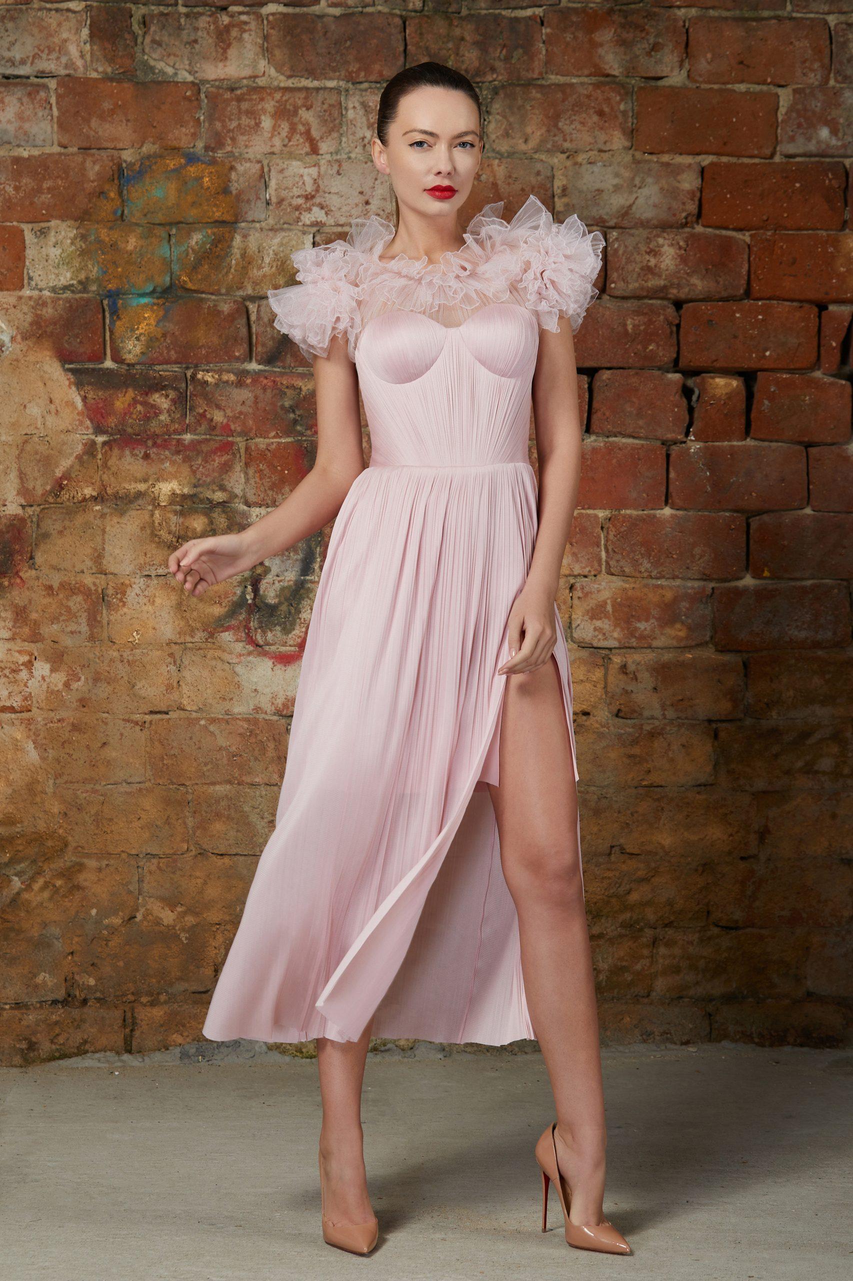 Ruffled corset cocktail dress