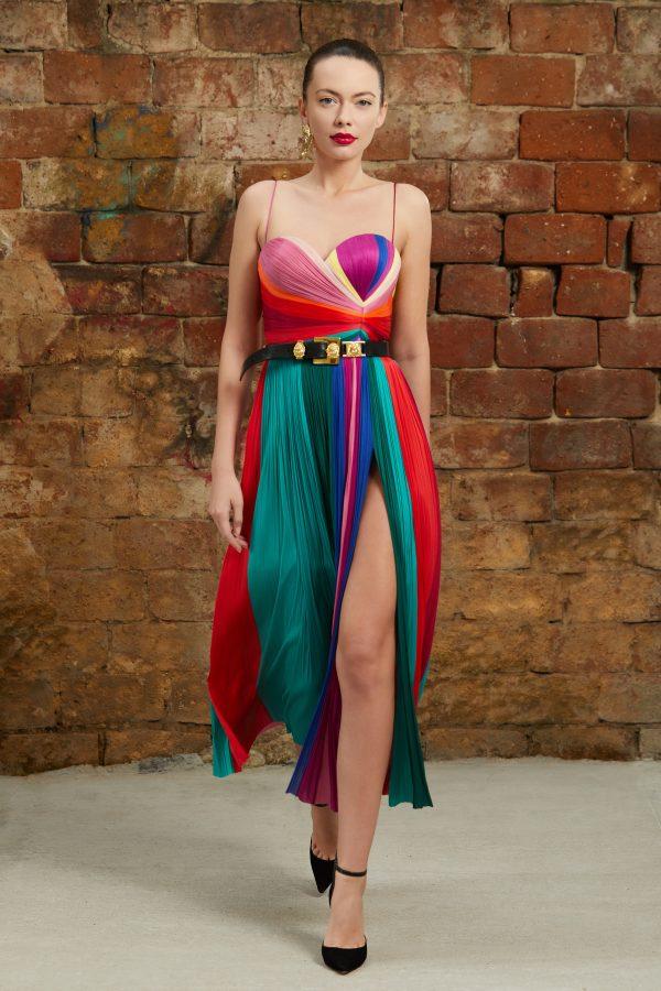 Multicolored midi silk dress
