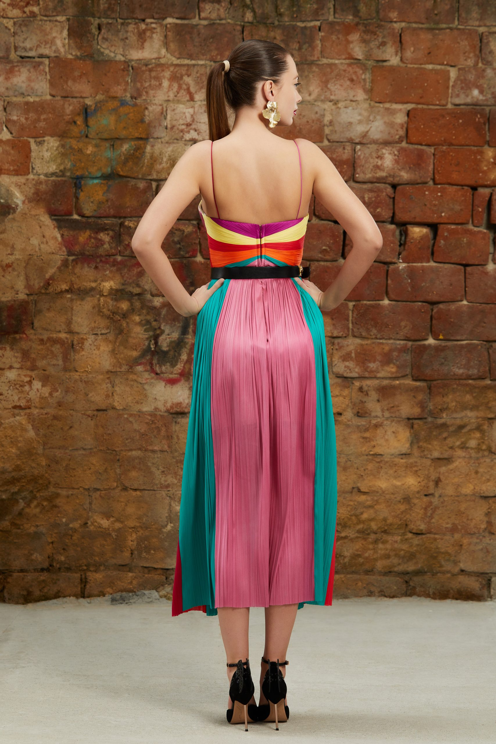 Multicolored midi silk dress
