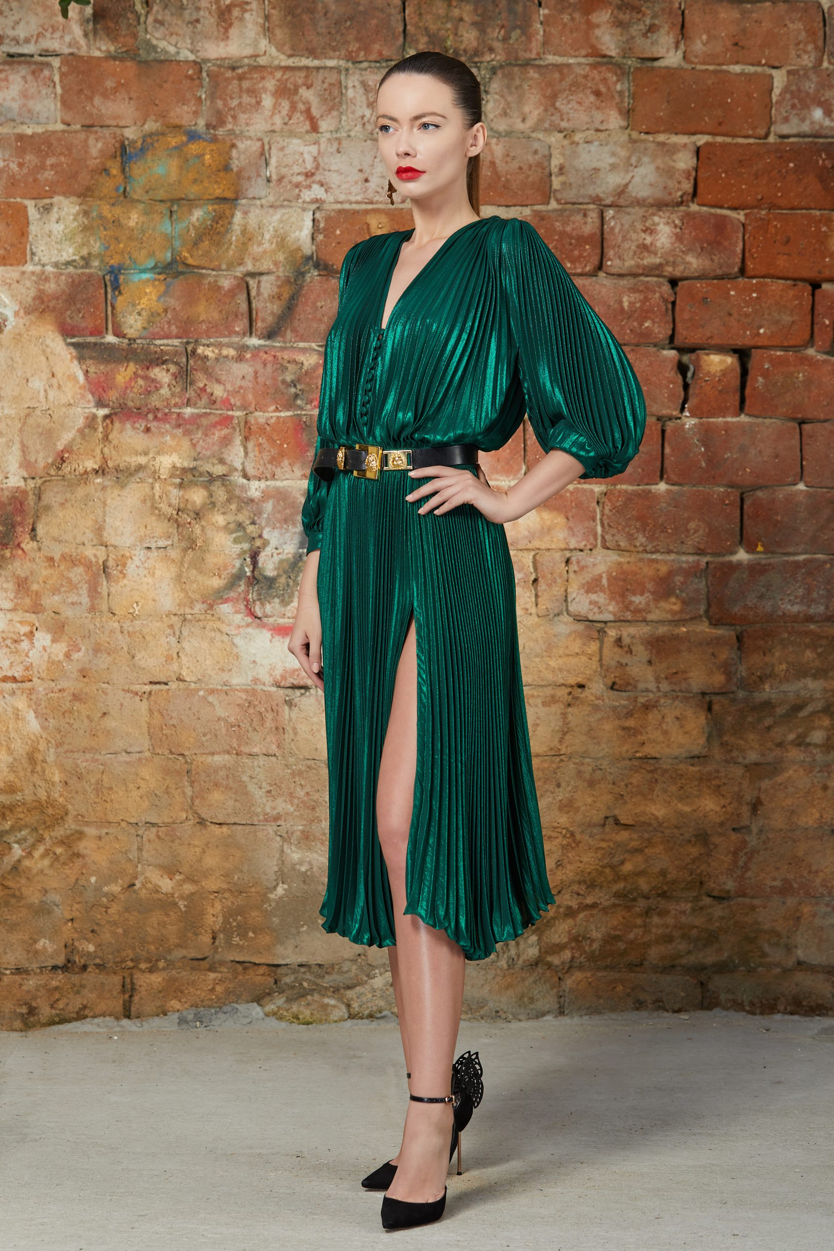 Emerald pleated cocktail dress