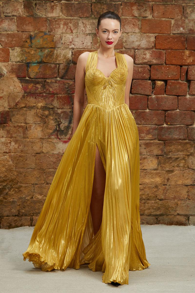 Golden silk evening dress