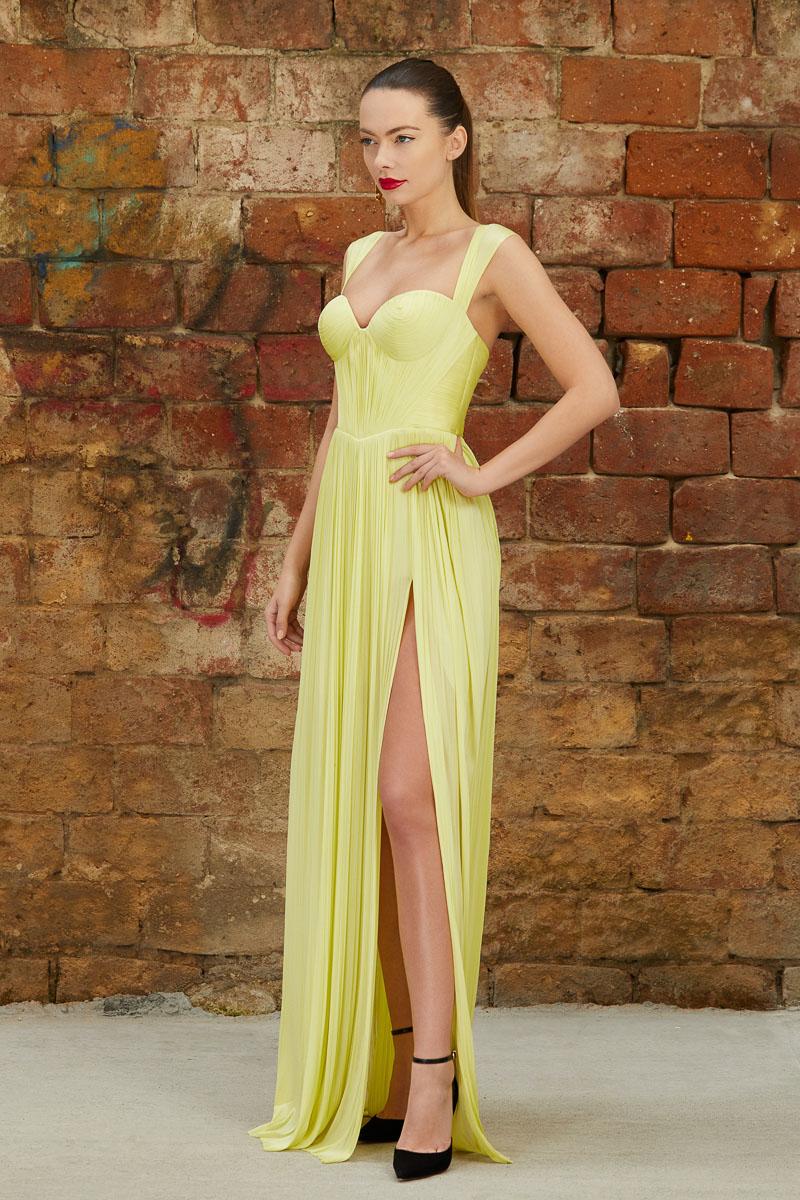 Long corset silk dress