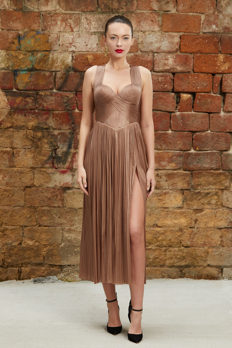 Pleated corset cocktail dress