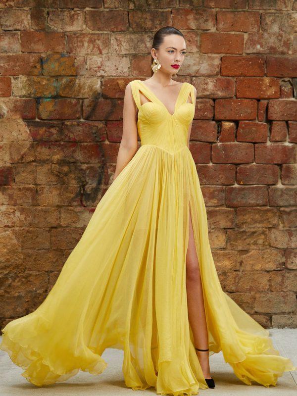 Long corset silk gown