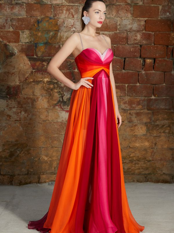 Multicolored panels silk gown