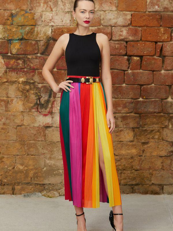 Multicolored silk paneled skirt