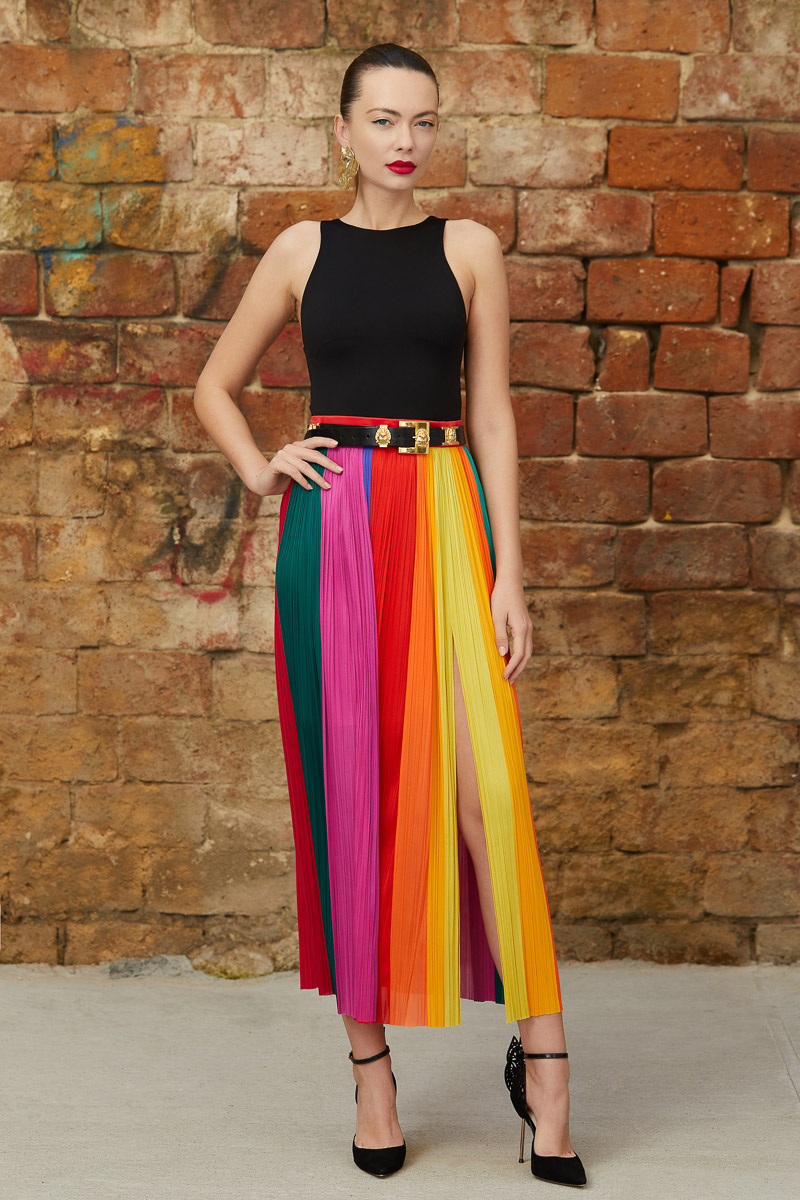 Multicolored silk paneled skirt