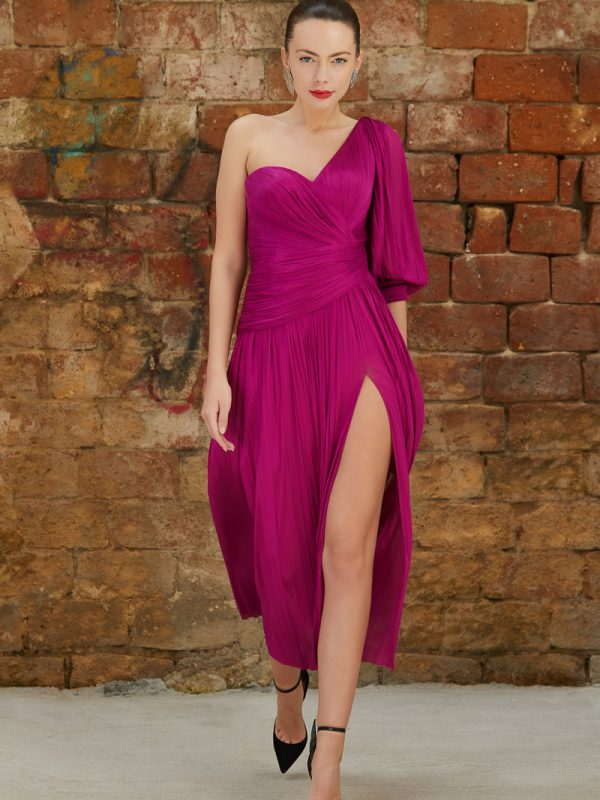 Fuchsia silk cocktail dress