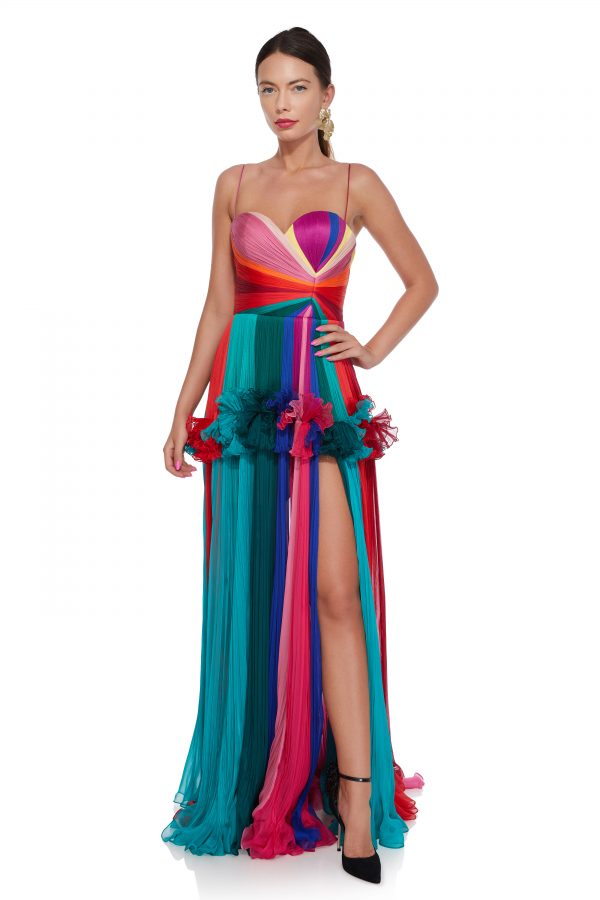 Rainbow pleated evening gown