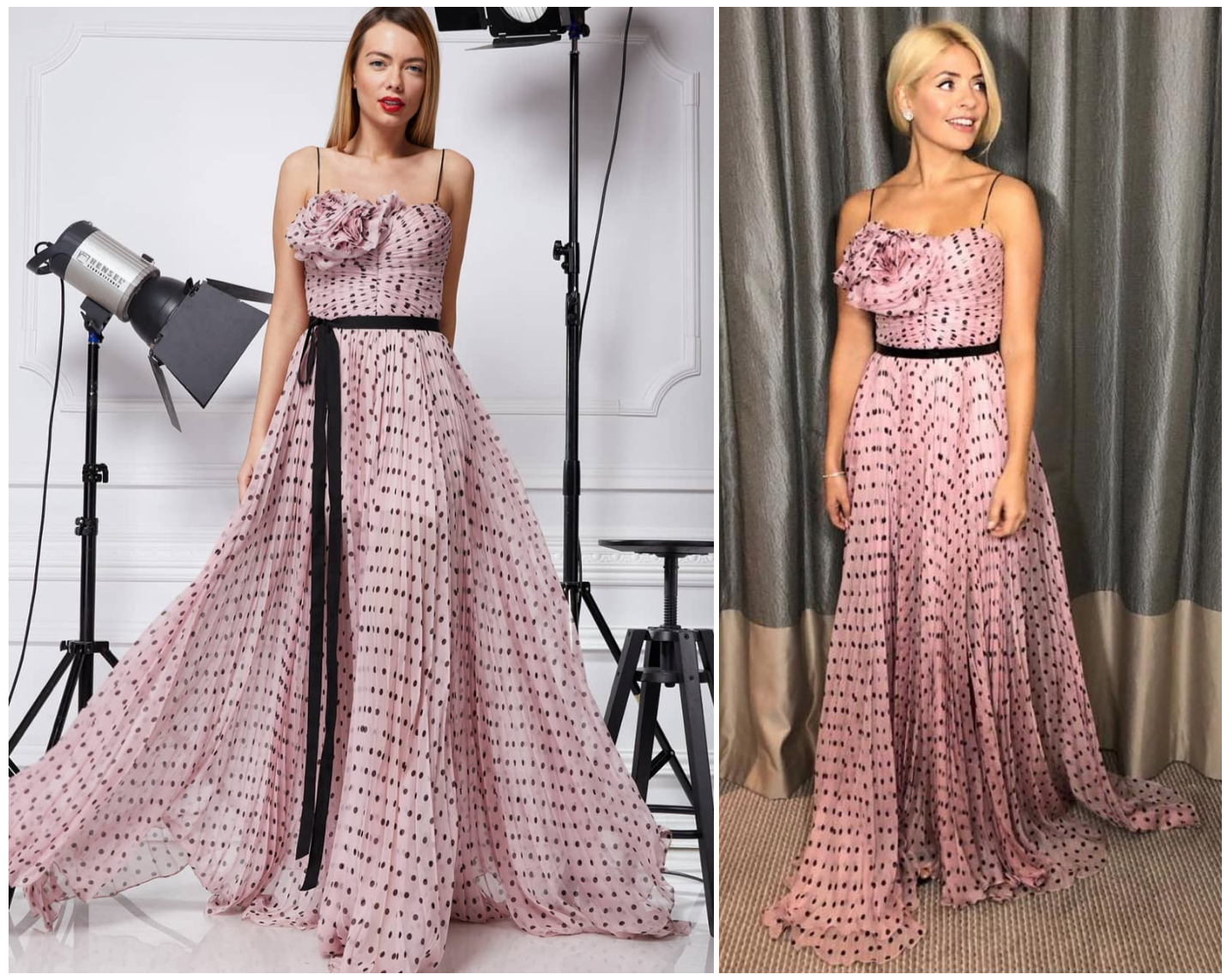 Holly Willoughby attending at the Red Carpet National Televison Awards in our Selena silk pleated dots