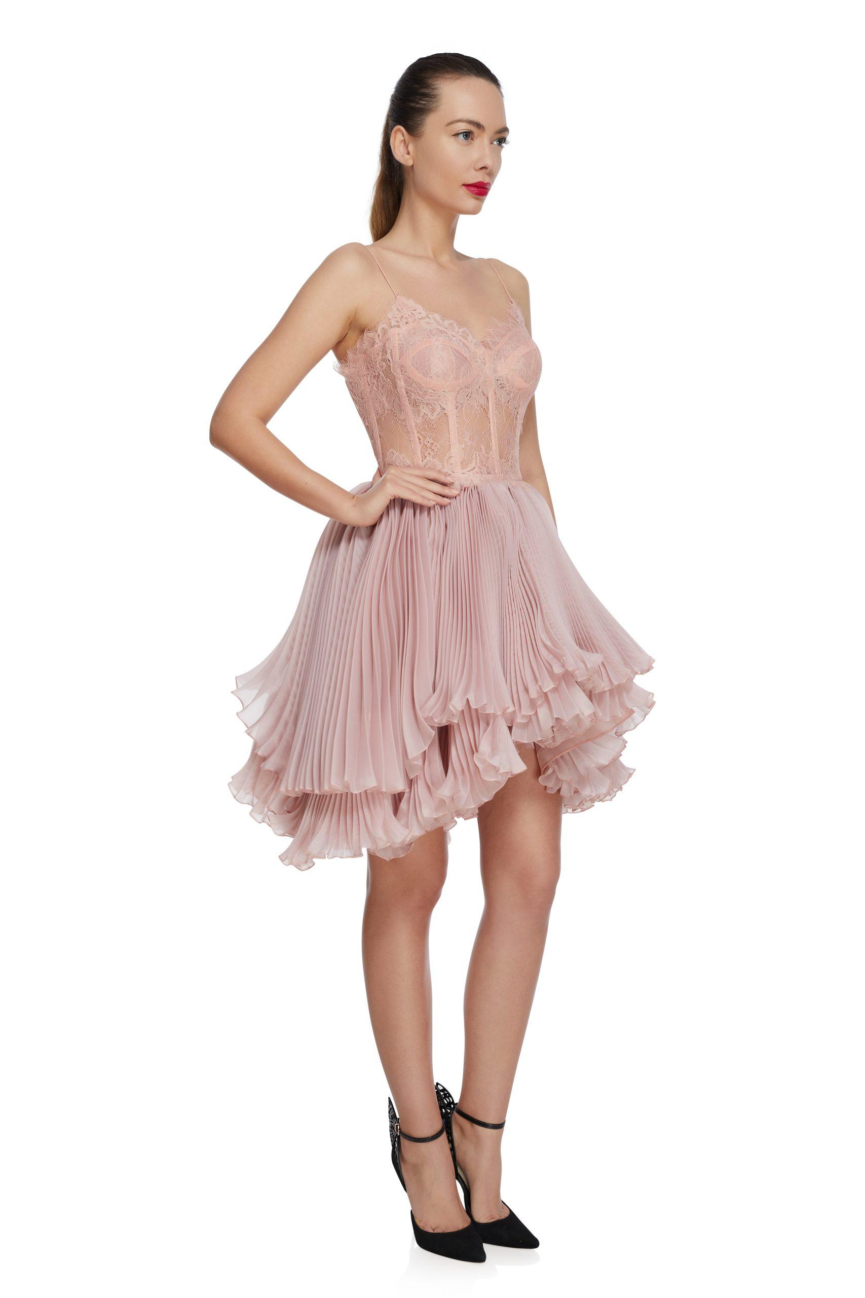 Lace corset prom dress
