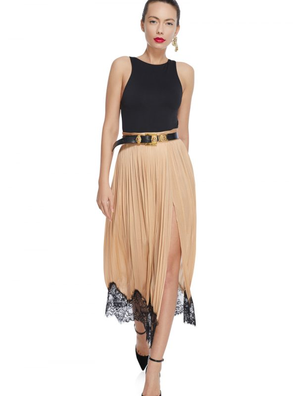 Draped lace silk skirt