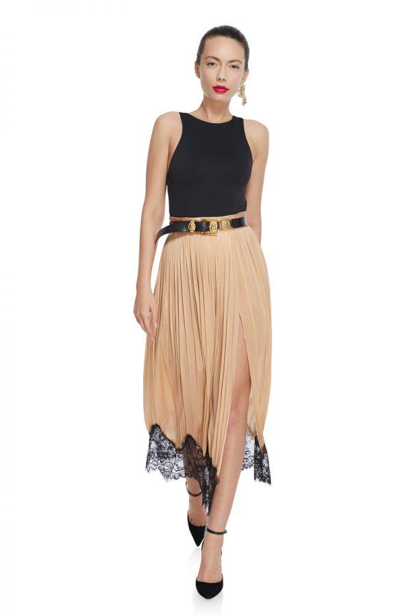 Draped lace silk skirt